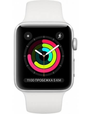 Apple Watch Series 3, 38 мм, серебристый алюминий, спортивный ремешок белого цвета (MTEY2RU/A)