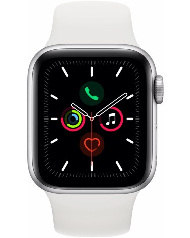 Apple Watch Series 5, 40 мм, серебристый алюминий, спортивный браслет белого цвета (MWV62RU/A)