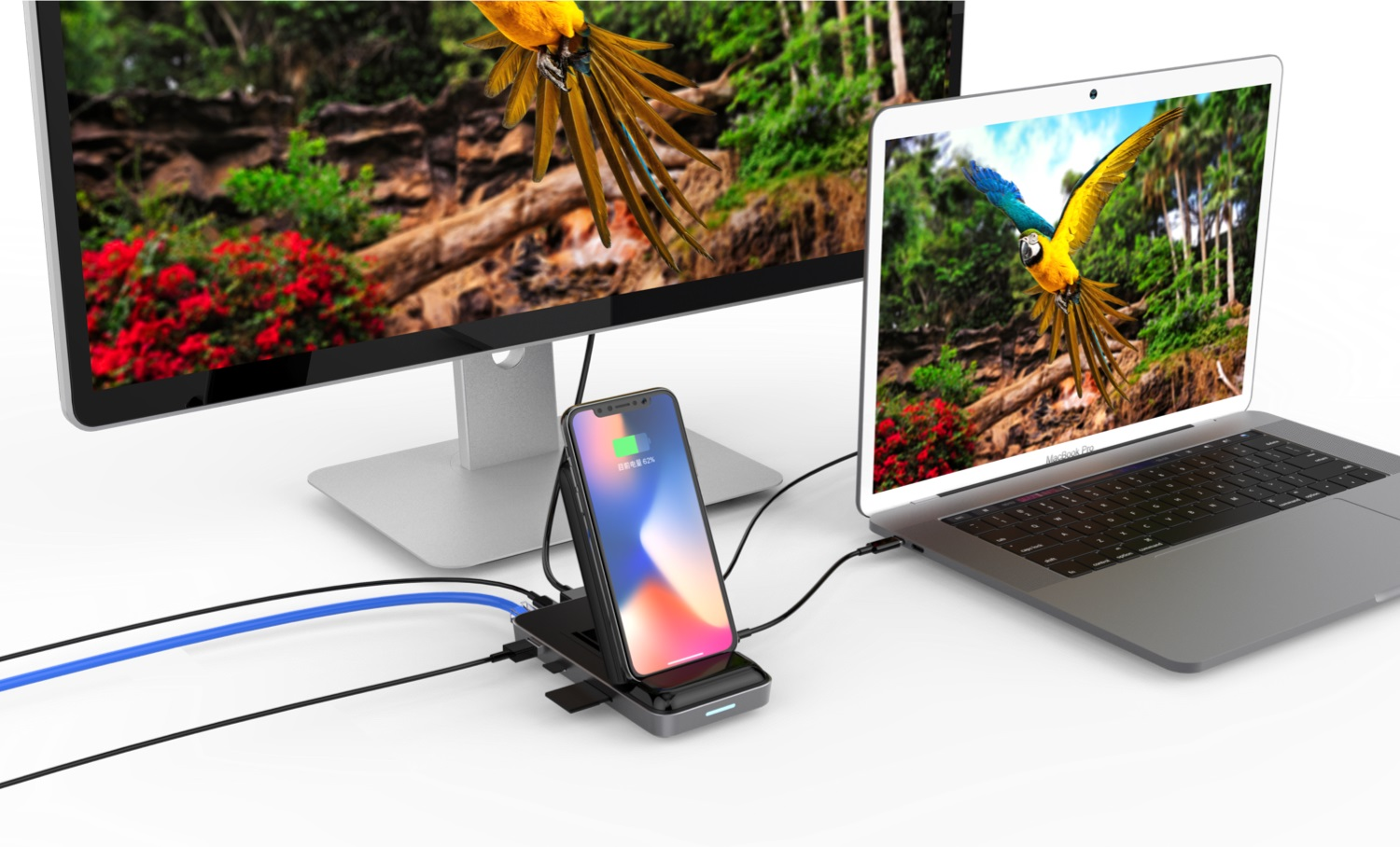 HyperDrive Qi Wireless Charger & USB-C Hub 7.5W